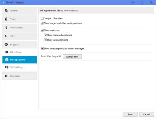 Janela de configurações da aparência da mensagem de chat exibida