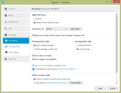 IM settings window displayed