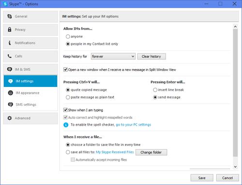 Ventana Configuración de chat mostrada