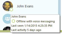 Información adicional sobre un contacto con el estado Desconectado: opciones de desvío de llamadas, la fecha de la última actividad y el último chat contigo.