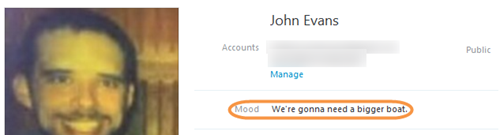 A mood message displayed in a profile.