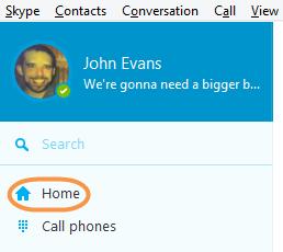 Das in der Skype-Symbolleiste ausgewählte Symbol Skype Home