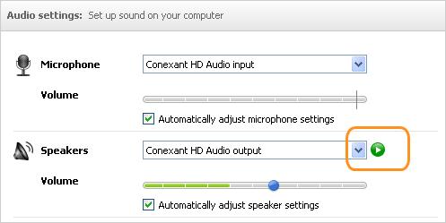 Options des paramètres audio pour le microphone ainsi que pour les haut-parleurs et bouton de lecture mis en évidence.