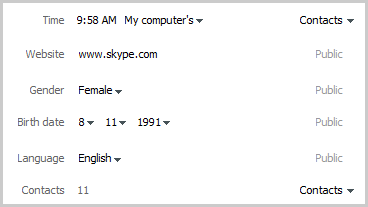 An example of a profile section where you can edit your Skype profile information and control who can see it.