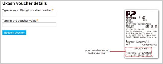 Campi di testo in cui immettere il numero del voucher Ukash e il relativo valore. Viene visualizzato un esempio di voucher.